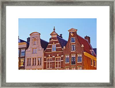 Amsterdam - Gables Of Old Houses At The Keizersgracht In The Evening Framed Print by Olaf Schulz