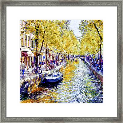 Amsterdam Canal Watercolor Framed Print by Marian Voicu