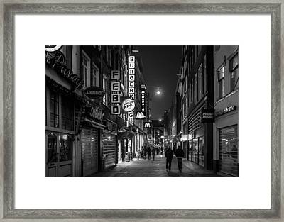Amsterdam Street At Night Framed Print by Buster Brown