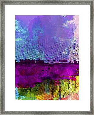Amsterdam Watercolor Skyline Framed Print by Naxart Studio