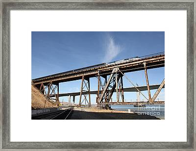 Amtrak Train Riding Atop The Benicia-martinez Train Bridge In California - 5d18775 Framed Print by Wingsdomain Art and Photography