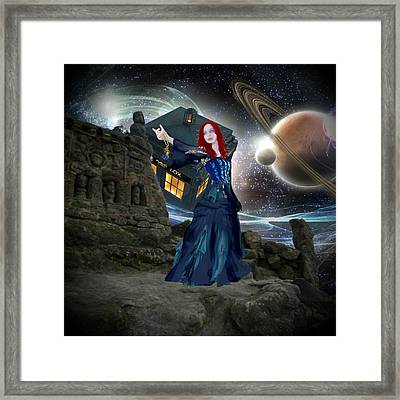 Amy And The Tardis Framed Print by Digital Art Cafe