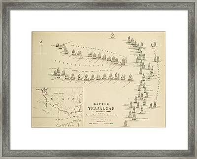 An 1848 Plan Of The Fleet Positions At The Battle Of Trafalgar Framed Print by Celestial Images