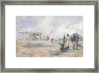 An Aeroplane Taking Off, 1913 Wc On Paper Framed Print by Francois Flameng