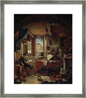 An Alchemist In His Laboratory Oil On Canvas Framed Print by Thomas Wyck