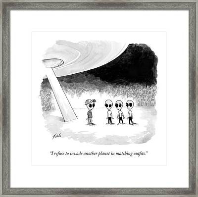 An Alien In A Baseball Cap And Polo Shirt Talks Framed Print by Tom Toro
