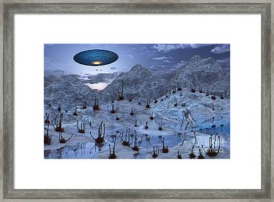 An Alien Reptoid Being Signaling Framed Print by Mark Stevenson