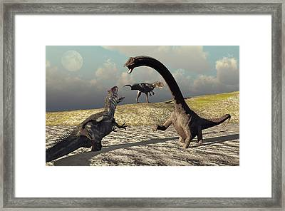 An Allosaurus And Diplodocus Dinosaur Framed Print by Mark Stevenson