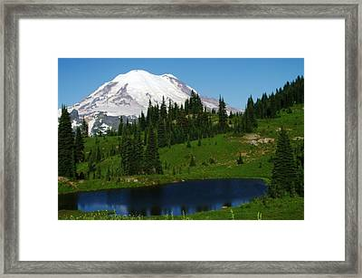 An Alpine Lake Foreground Mt Rainer Framed Print by Jeff Swan