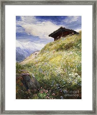 An Alpine Meadow Switzerland Framed Print by John  MacWhirter