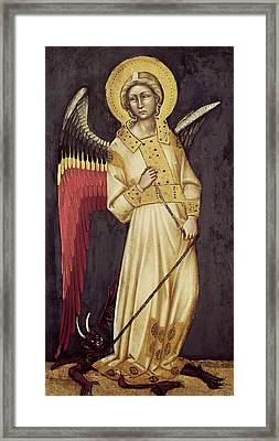 An Angel With A Demon On A Chain Framed Print by Ridolfo di Arpo Guariento