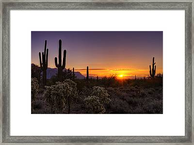 An Arizona Winter Sunrise Framed Print by Saija  Lehtonen
