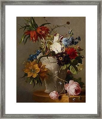An Arrangement With Flowers Framed Print by Georgius Jacobus Johannes van Os