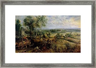 An Autumn Landscape With A View Of Het Steen In The Early Morning, C.1636 Oil On Panel Framed Print by Peter Paul Rubens