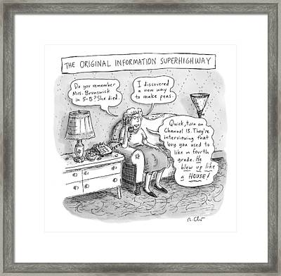 An Elderly Woman Is Seen Speaking Framed Print by Roz Chast