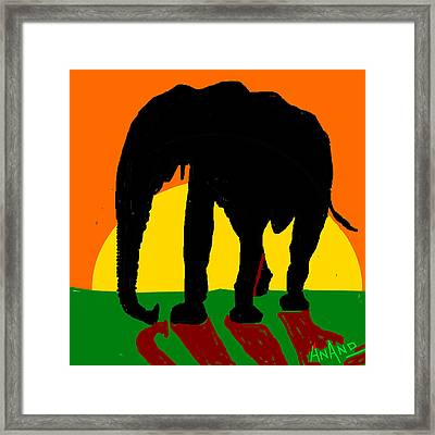 An Elephant And Sun Framed Print by Anand Swaroop Manchiraju