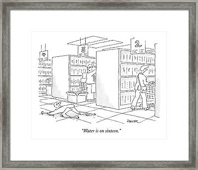 An Emaciated Man In Rags Crawls On The Floor Framed Print by Jack Ziegler