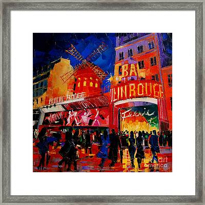An Evening At Moulin Rouge Framed Print by Mona Edulesco