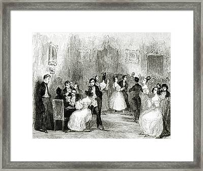 An Evening At The House Of Charles Nodier 1780-1844 1831 Wc On Paper Bw Photo Framed Print by Tony Johannot
