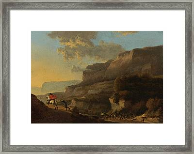 An Italianate Landscape With Travellers Ambushed By Bandits Framed Print by Jan Hackaert