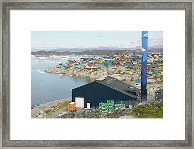 An Oil Fired Power Plant In Ilulissat Framed Print by Ashley Cooper