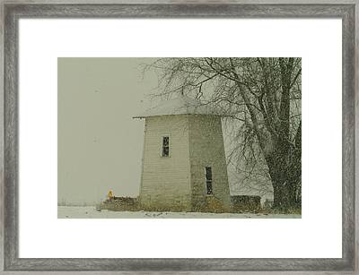 An Old Bin In The Snow Framed Print by Jeff Swan