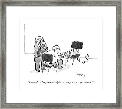 An Old Man Says To Another Old Man Framed Print by Avi Steinberg