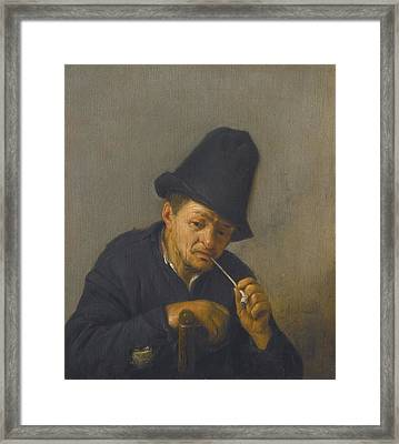An Old Man With In A Tall Hat Leaning  Framed Print by Celestial Images