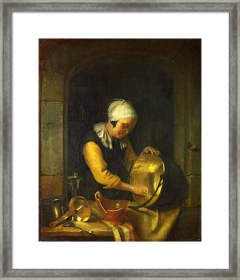 An Old Woman Scouring A Pot Framed Print by Godfried Schalcken
