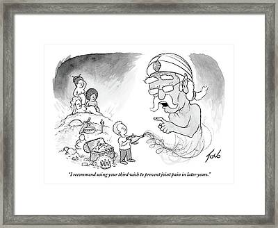 An Older Genie Speaks To Young Boy As He Emerges Framed Print by Tom Toro