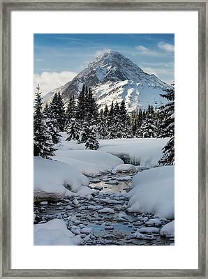 An Open Creek With Snow Covered Curvy Framed Print by Michael Interisano