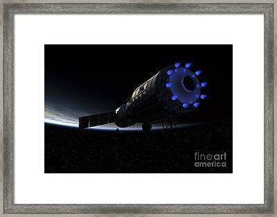 An Orbital Maintenance Platform Fires Framed Print by Walter Myers