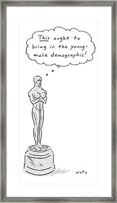 An Oscar Statue With Breasts Thinking This Ought Framed Print by Kim Warp