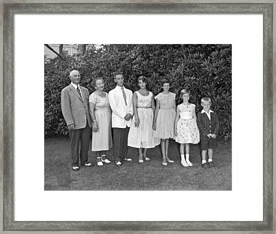 An Outdoors Family Portrait Framed Print by Underwood Archives