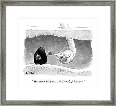 An Underground Mole Says To A Ostrich Poking Framed Print by Will McPhail