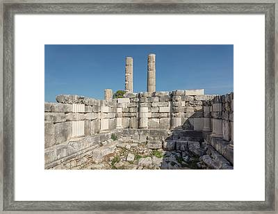 Anastylosis Of Temple Column At Letoon Framed Print by David Parker