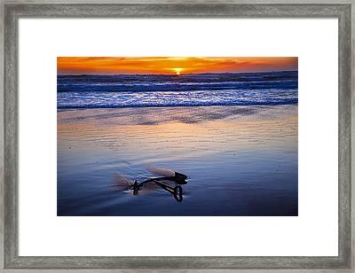 Anchor Ocean Beach Framed Print by Garry Gay