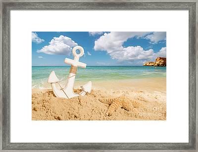 Anchor On The Beach Framed Print by Amanda Elwell
