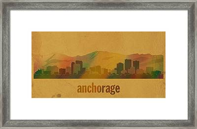 Anchorage Alaska City Skyline Watercolor On Parchment Framed Print by Design Turnpike
