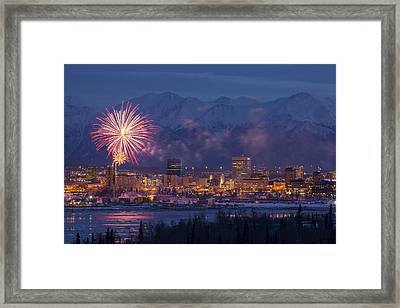 Anchorage Fireworks Six Framed Print by Tim Grams