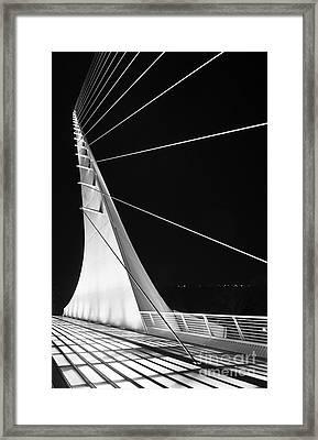 Anchored Sail - The Unique Sundial Bridge In Redding California. Framed Print by Jamie Pham