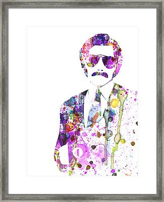 Anchorman Watercolor Framed Print by Naxart Studio