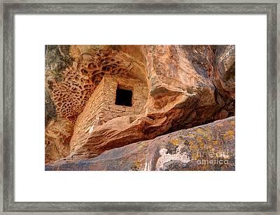 Ancient Anasazi Honeycomb Granary Ruin  Framed Print by Gary Whitton