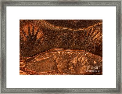 Ancient Anasazi Sandstone Hand Prints Framed Print by Gary Whitton