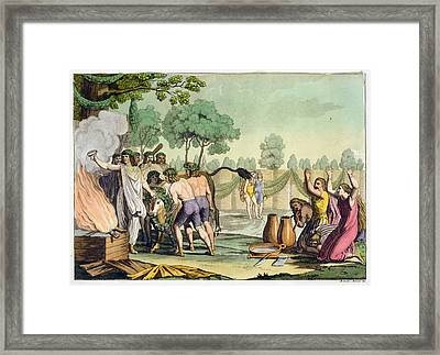 Ancient Celts Or Gauls Sacrificing Framed Print by Vittorio Raineri