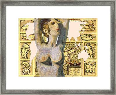 Ancient Cyprus Aphrodite And World Map  Framed Print by Augusta Stylianou