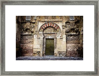 Ancient Door To The Mezquita In Cordoba Framed Print by Artur Bogacki