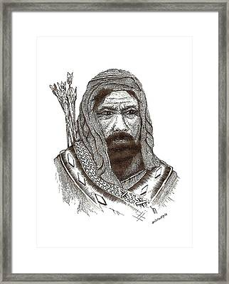 Ancient Hunter A Pen And Ink Drawing Framed Print by Mario Perez