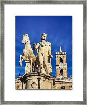 Ancient Marble Sculpture Of Castor At The Cordonata Stairs  Framed Print by Stefano Senise