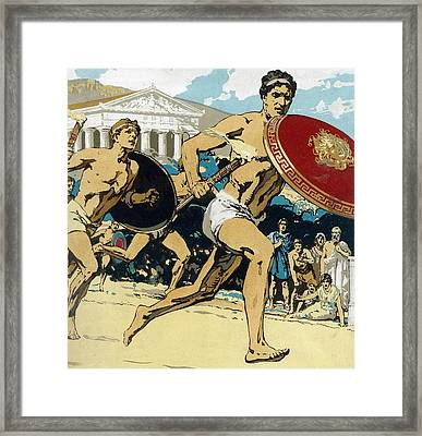 Ancient Olympic Games  The Relay Race Framed Print by Unknown